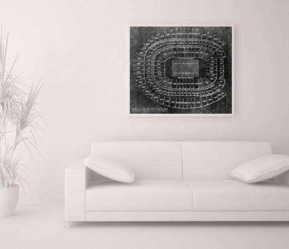 Print of Vintage Mile High Stadium Seating Chart Seating Chart on Photo Paper, Matte paper or Canvas