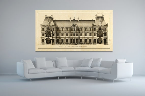 Antique Print of Palace of Luxembourg Entrance Elevation on your choice of color and Photo Paper, Matte Paper or Canvas Giclee.