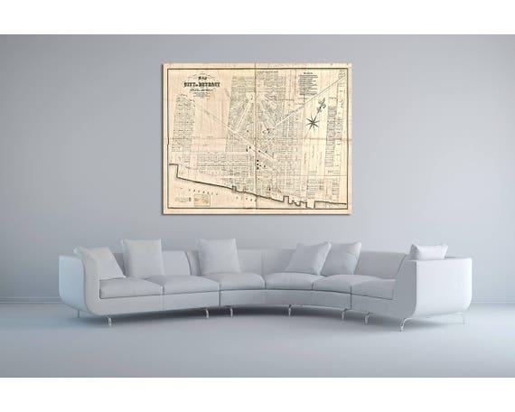 Print of Antique Map of Detroit Michigan on Photo Paper Matte Paper or Stretched Canvas with Free Shipping!