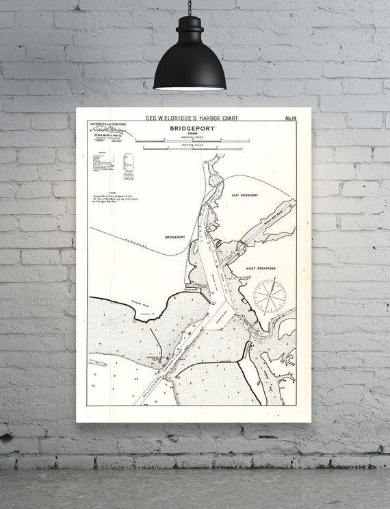 Antique Print of a Bridgeport, Connecticut Nautical Chart on your choice of Photo Paper, Matte Paper or Canvas Giclee