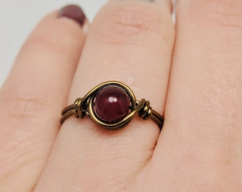 Turkish Style Red Dyed Ruby Brass Metal Ring Size 7 US Handmade Jewelry Exotic
