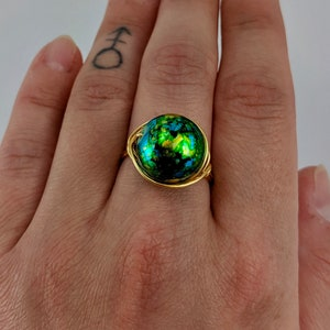 Handmade Ring Antique Brass Ring Emerald Green Customizable Ring Green Pearl and Brass Wire Wrapped Rings Dark Green Pearl Wire Wrap