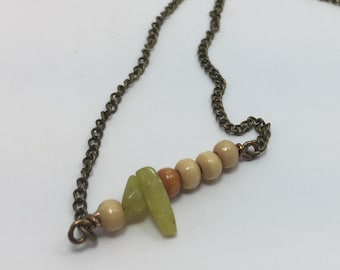 Citron quartz bar necklace mixed woods antique brass Summer 2018 Collection limited time festival gift green stone tan blonde wood layering