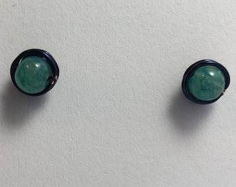 Marbled Green Glass Stud Earrings/Playful and Fun/Casual/Everyday/Choose Your Color/Customize/Summer/Spring