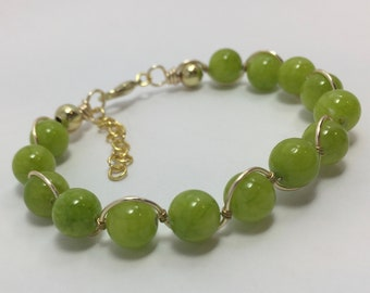 Bright green quartz and gold bangle/Summer 2018 Collection/dyed natural stone/apple green/citron/spring line/perfect gift/essential jewelry