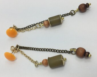 Summer 2018 Collection/post long dangle earrings/mixed metals/gold and brass chains/vintage beads/handmade stud/spring colors
