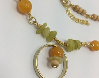 Green orange quartz necklace gold citron blonde wood handmade statement wire wrap Summer 2018 Collection limited circle geometric gift bold