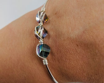 Elegant -Choker Sterling silver Wire Wrapped Everyday choker Iridescen blue green faceted cube- 925 sterling silver beaded Simple