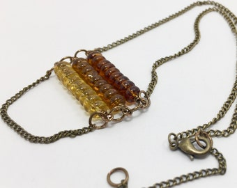 Honey maple necklace glass bars antique brass and nature inspired color Summer 2018 Collection ONLY ONE AVAILABLE limited one of a kind gift