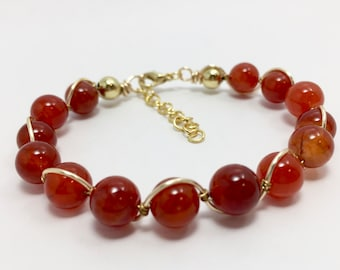 Burnt orange quartz and gold bangle/Summer 2018 Collection/rust/red/deep coral/ dyed stone/everyday wear/essential color/gift/spring line