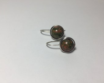 DISCONTINUED/FINAL CHANCE/Unakite Jasper Simple Green Red Drop Earrings/Boho Jewelry/Earthy/Natural/Nature/Gift/Wire Wrap/Basics/Essentials