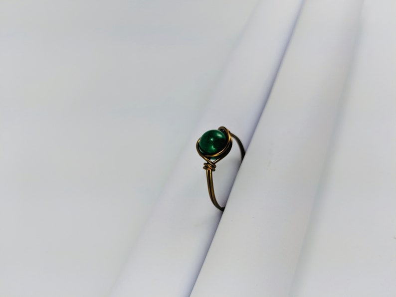 Handmade Ring Customizable Ring Wire Wrap Dark Green Pearl Antique Brass Ring Green Pearl and Brass Wire Wrapped Rings Emerald Green