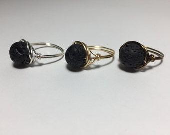 Lava Rock Aromatherapy Wire Wrap Ring/Diffuser/Brass/Silver/Gold/Essential Oil/Natural/Stone/Black/Hot Rock/Scent/Versatile/Copper/Gunmetal