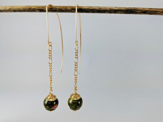 Earthy Picture Jasper Dangle Drops OOAK Mustard Yellow Leverback Earrings Unique Natural Stone Jewellery by VonCliecXclusives Ready to Ship