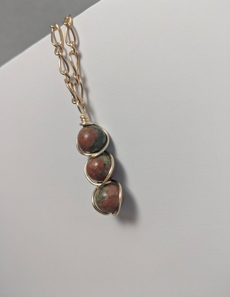 Gold Chain Minimal Necklace Wire Wrap Natural Stone Jewelry Gold and Unakite Jasper Peapod Wire Wrapped Necklace Green Red Brown Stones