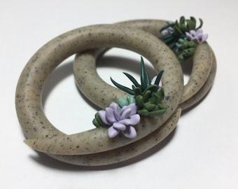 Granite and Succulents Hoop Earrings/Gauge/Plugs/Faux Stone/Plants/Green/Nature/Handmade/Earth/Custom/Gift/Purple/Grey/Spring