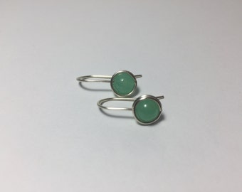 DISCONTINUED/FINAL CHANCE/Simple Delicate Green Aventurine Drop Earrings/Wire Wrap Semi Precious Stone/Dainty/Everyday/Elegant