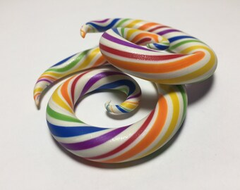Pearl White Rainbow Stripe Spiral Plugs/Pride/Colorful/Polymer Clay/Gauged Ears/Earrings/Party/Bright/Fun/Gift/Candy Colored/Custom