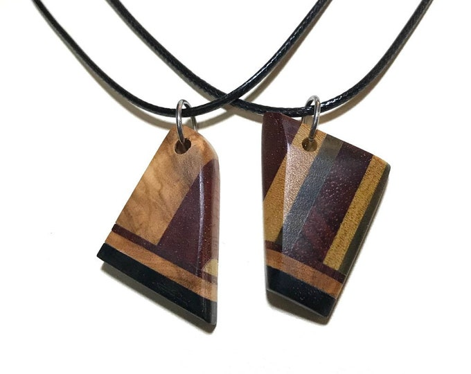 Featured listing image: Social Distancing Friendship Pendants - 2 Necklaces made of reclaimed Olivewood, Bloodwood, and Ebony + scraps while at home in March 2020