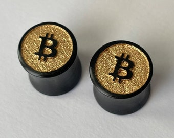 """Golden Bitcoin Ebony Wooden Plugs - PAIR - 0g 8mm 00g 9mm 10mm 7/16"""" 11mm 1/2"""" 9/16"""" 5/8"""" and up Wood Gold BTC Ear Gauges Crypto Miner Logo"""