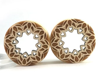 "Lotus Cutout Tunnels - Holly Wooden Plugs - PAIR - available in  1"" (25.5mm) 1 1/8"" (28mm) 1 1/4"" (32mm) 1 1/2"" (38mm) Ear Gauges"