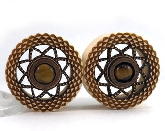 "Tigers Eye and Holly Cutout Plugs - PAIR - available in  1"" (25.5mm) 1 1/8"" (28mm) 1 1/4"" (32mm) 1 1/2"" (38mm) Wooden Ear Gauges Wood plugs"