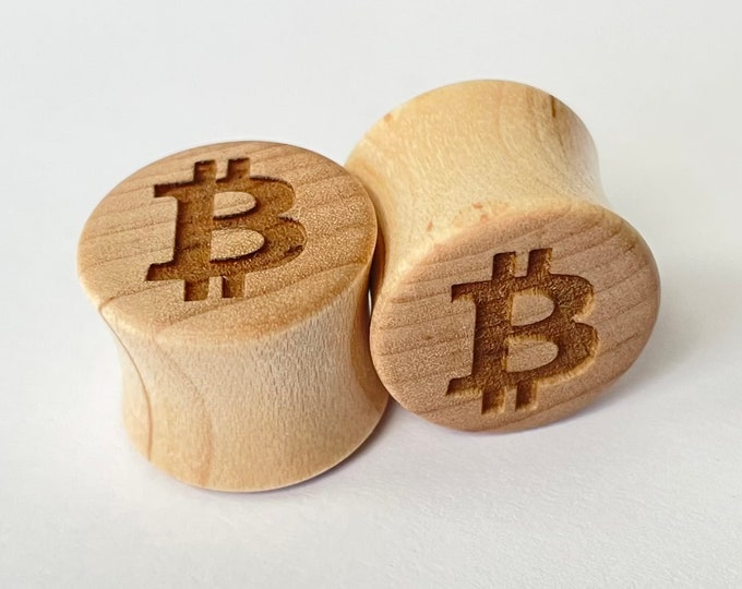 """Featured listing image: Bitcoin Maple Wooden Plugs - PAIR - 0g 8mm 00g 9mm 10mm 7/16"""" 11mm 1/2"""" 13mm 9/16"""" 14mm 5/8"""" 16mm 3/4"""" 19mm 7/8"""" & up Ear Gauges BTC Crypto"""