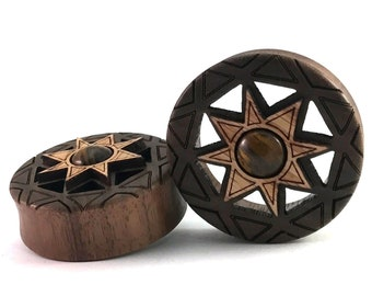 "READY TO SHIP - 1 1/2"" (38mm) Walnut Mandala Cutout Wooden Plugs with Oak and Tigers Eye inlays -Pair- Premade Gauges Ship in 1 Business Day"