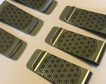 Six Pack of Flower of Life Money Clips - wholesale lot, bulk for vending Sacred Geometry vendors - Groomsmen Gifts - Gift for Him