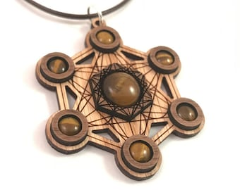 Tigers Eye and Wood Metatron's Cube Pendant - Natural Sustainable Wooden Necklace with 7 Genuine Gemstones - Walnut on Oak