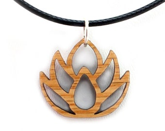 Lotus Flower Wooden Pendant - Oak, Walnut, Red or Black Stained Maple - 2 Sizes - Sustainable Wood Jewelry - SHIPS FREE
