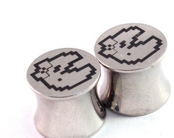 """Ms Pac Man Double Flared Plugs - Surgical Steel - 2g 0g 00g 7/16"""" (11 mm) 1/2"""" (13mm) 9/16"""" (14mm) 5/8"""" (16mm) - Metal Gauges"""