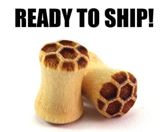 READY TO SHIP 2g (6.5mm) Yellowheart Honeycomb Wood Plugs - Nature Lover Gift Idea - Premade Gauges Ship Within 1 Business Day!
