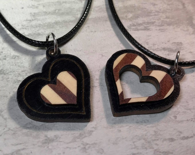 Featured listing image: Day 19 - Social Distancing Friendship Pendants - 2 Necklaces made of reclaimed Bloodwood and American Holly, while at home in March 2020