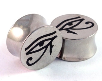 "Eye of Horus Surgical Steel Plugs - Double Flared - 2g 0g 00g 7/16"" (11 mm) 1/2"" (13mm) 9/16"" (14mm) 5/8"" (16mm) Eye of Ra Metal Gauges"