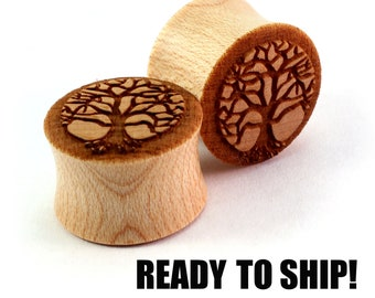 "READY TO SHIP 5/8"" (16mm) Maple Tree of Life Wooden Plugs - Premade Gauges Ship Within 1 Business Day!"