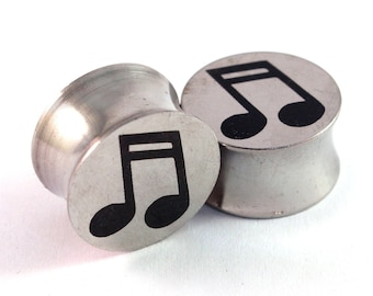 "Music Notes Surgical Steel Plugs 2g 0g (8mm) 00g (10mm) 7/16"" (11mm) 1/2"" (13mm) 9/16"" (14mm) 5/8"" (16mm) Metal Ear Gauges"