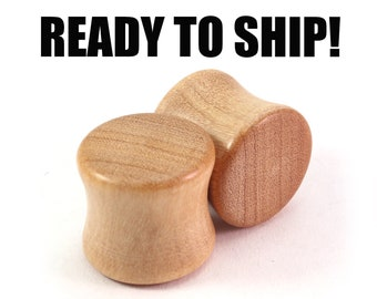 "READY TO SHIP 1/2"" (13mm) Olivewood Mellow Grain Wooden Plugs - Premade Gauges Ship Within 1 Business Day!"