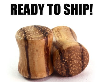 READY TO SHIP - 00g (9mm) Zebrawood Blank Wood Plugs - Pair - Hand Turned - Premade Gauges Ship Within 1 Business Day!