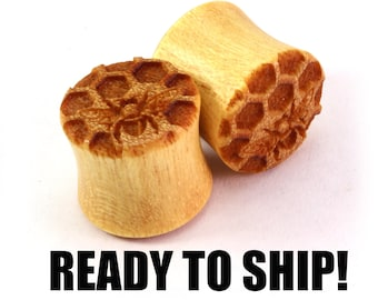 "READY TO SHIP 1/2"" (13mm) Yellowheart Honeycomb w/Bees on Both Wooden Plugs - Premade Gauges Ship Within 1 Business Day!"