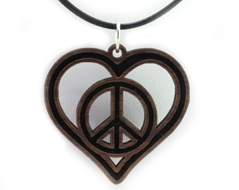 Peace Love Heart Wooden Pendant - Oak, Walnut, Red or Black Stained Maple - Sustainable Wood Jewelry - SHIPS FREE