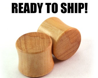 "READY TO SHIP 9/16"" (14mm) Olivewood Mellow Grain Wooden Plugs - Premade Gauges Ship Within 1 Business Day!"