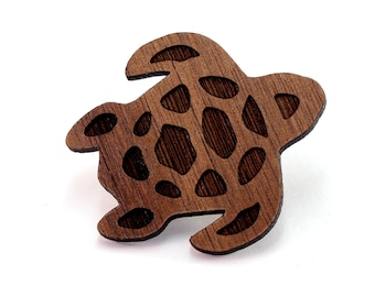 Sea Turtle Wood Pin - 2 Sizes - Walnut, Oak, Red Stained Maple, or Black Stained Maple Wooden Hat Pin