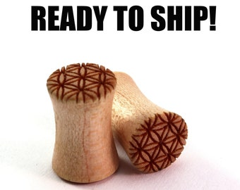 READY TO SHIP 2g (6.5mm) Maple Flower of Life Wood Plugs - Pair - Sacred Geometry - Premade Gauges Ship Within 1 Business Day!