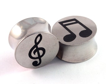 "Music Note & Treble Clef Surgical Steel Plugs 2g 0g (8mm) 00g (10mm) 7/16"" (11mm) 1/2"" (13mm) 9/16"" (14mm) 5/8"" (16mm) Metal Ear Gauges"