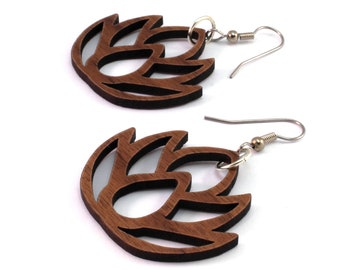 Simple Lotus - Sustainable Wooden Earrings - in Walnut, Oak, Red or Black Stained Maple - Dangle Drop Wood Earrings - 2 Sizes