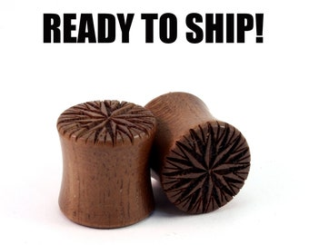 "READY TO SHIP - 7/16"" (11mm) Walnut Compass Rose Wooden Plugs - Pair - Premade Gauges Ship Within 1 Business Day!"