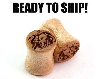 READY TO SHIP - 00g (9mm) Maple Octopus Wood Plugs - Pair - Hand Turned - Premade Gauges Ship Within 1 Business Day!