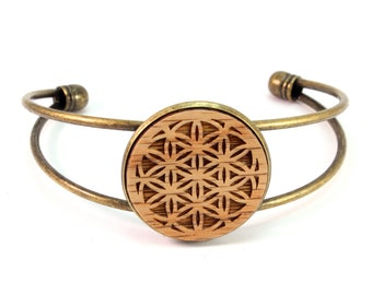Cuff Bracelet with Sustainably-Harvested Oak Wooden Flower of Life Disc - Sacred Geometry