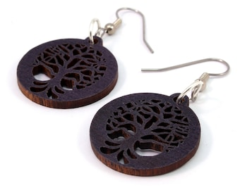 "Tree of Life Sustainable Wooden Earrings - Black Stained Maple - Small (1"")  - Wood Dangle Hook Earrings - Boho - Gift for Her"